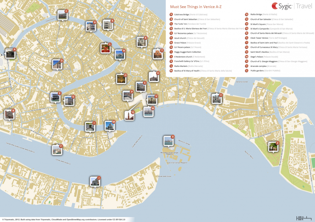 Venice Printable Tourist Map | Sygic Travel within Printable Walking Map Of Venice Italy