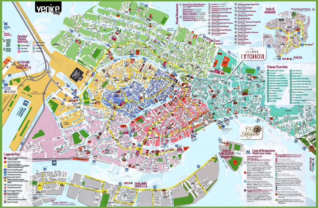 Venice Tourist Attractions Map | Italy Sights In 2019 | Venice inside Street Map Of Venice Italy Printable
