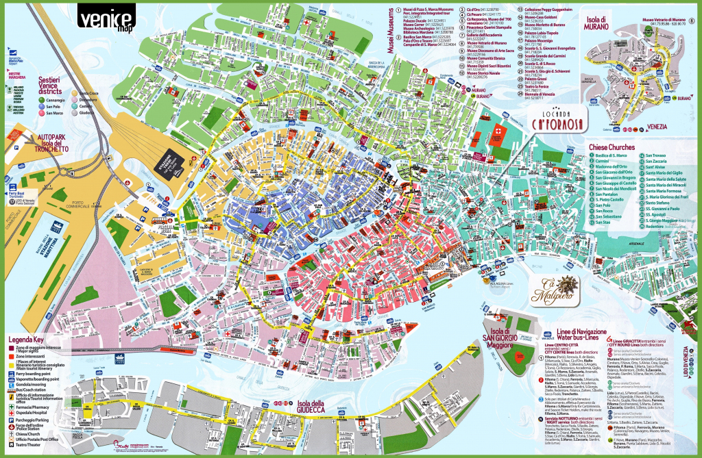 Venice Tourist Attractions Map with Printable Map Of Venice Italy