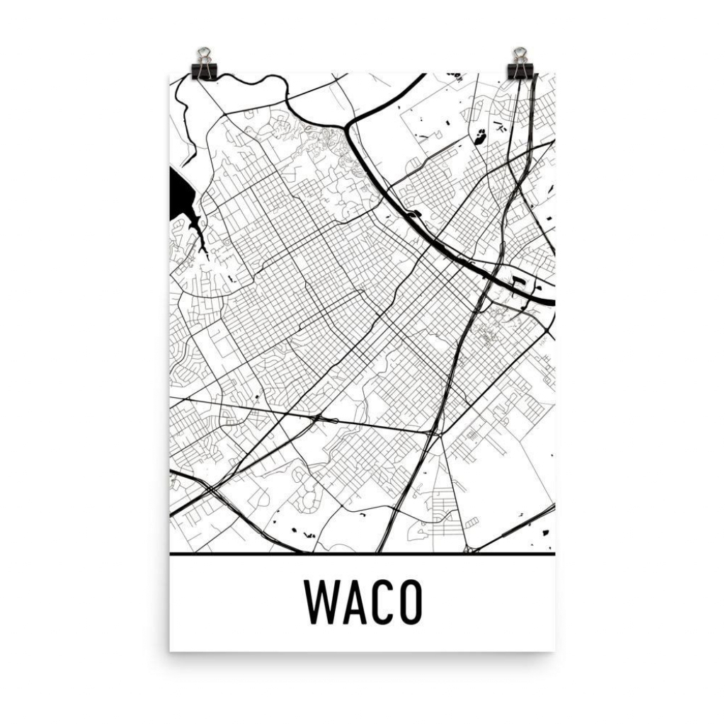 Waco Tx Street Map Poster | Waco - Baylor's Hometown | Map Art, Map in Printable Map Of Waco Texas
