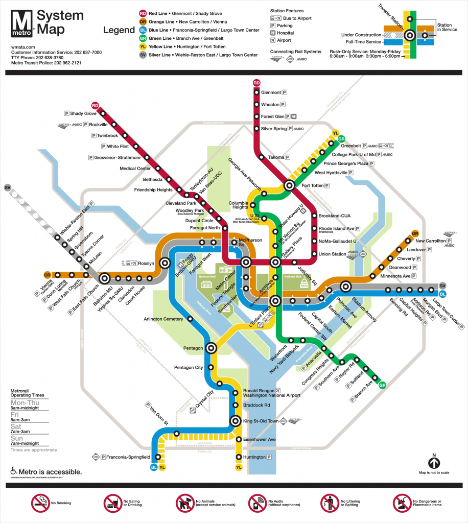 Washington, D.c. Metro Map regarding Printable Washington Dc Metro Map
