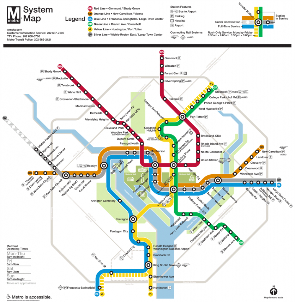 Washington, D.c. Subway Map | Rand within Printable Washington Dc Metro Map