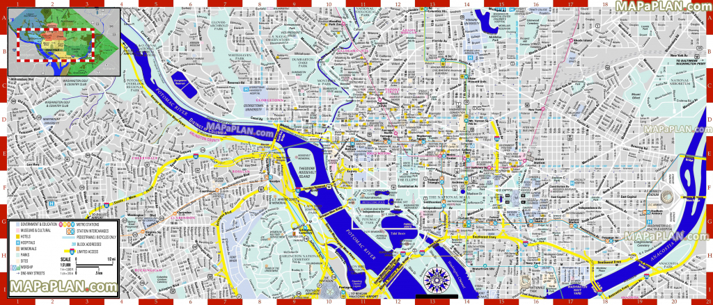 Washington Dc Maps - Top Tourist Attractions - Free, Printable City for Washington Dc Map Of Attractions Printable Map