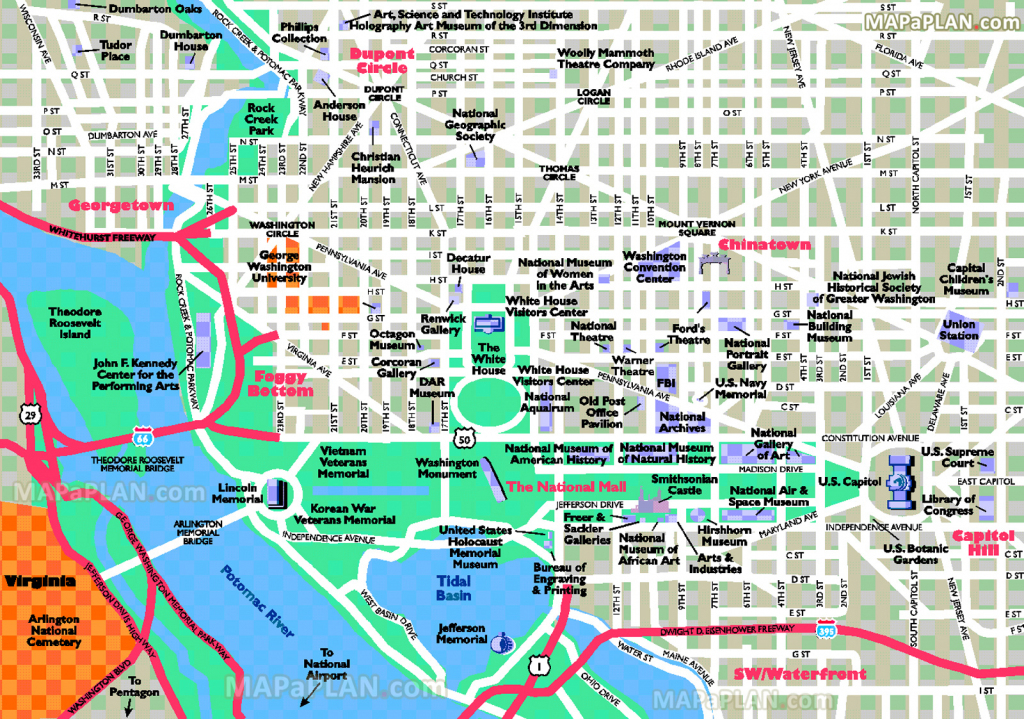 Washington Dc Maps - Top Tourist Attractions - Free, Printable City intended for Printable Map Of Dc Monuments