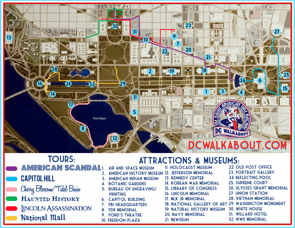 Washington Dc Tourist Map | Tours & Attractions | Dc Walkabout throughout Tourist Map Of Dc Printable