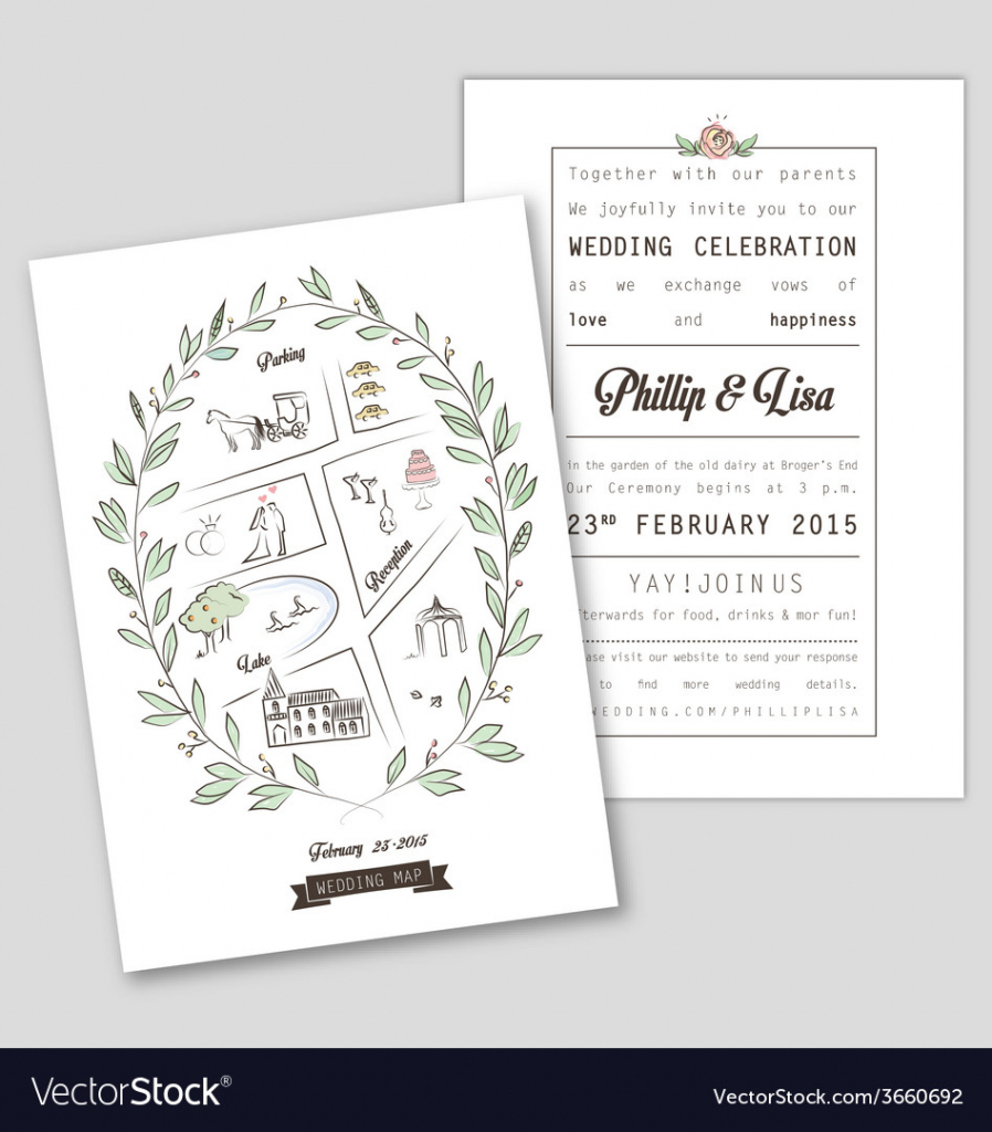 Wedding Invitation Template With Map Royalty Free Vector with regard to Free Printable Wedding Maps