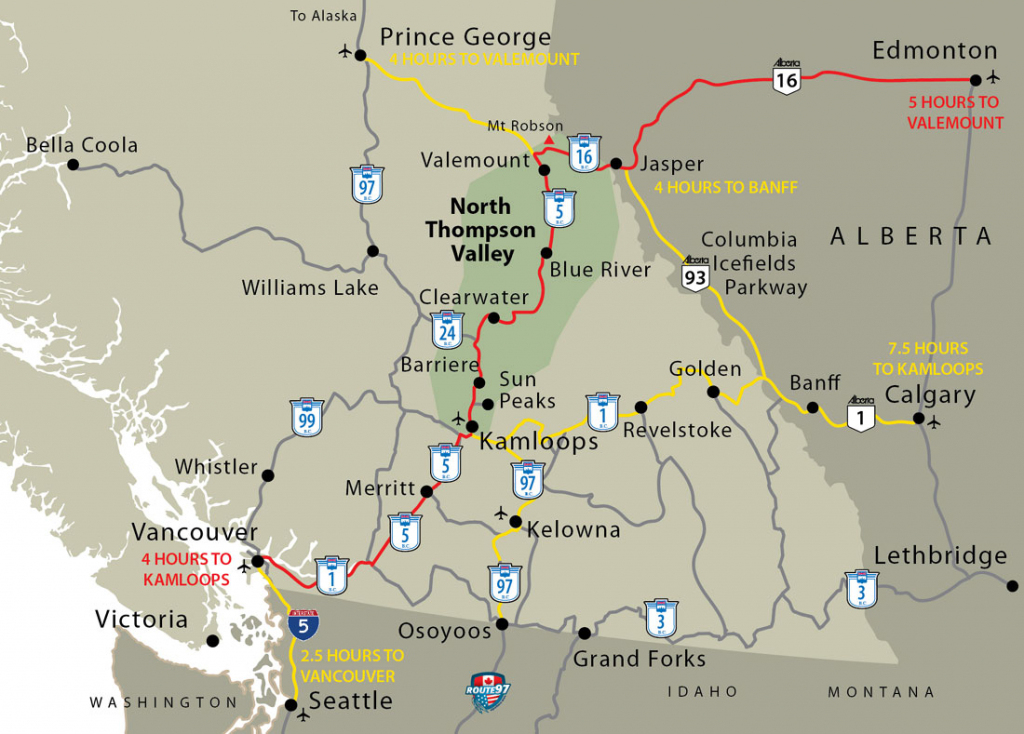 Western Canada Map - Barriere, Lower North Thompson Valley throughout Printable Map Of Western Canada