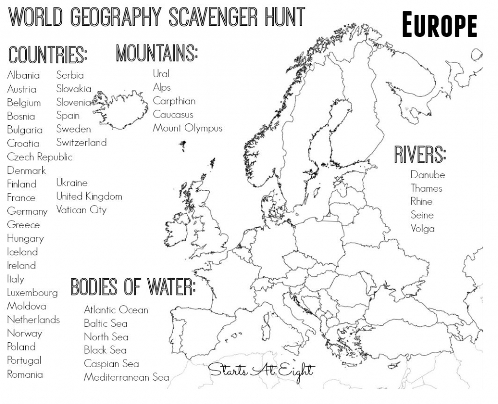 World Geography Scavenger Hunt: Europe ~ Free Printable   Continent regarding Map Of Europe For Kids Printable