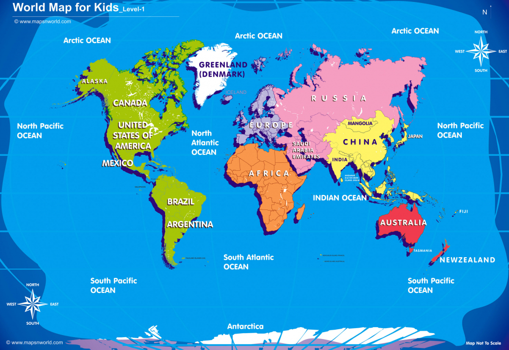 World Map For Kids Big Size in Kid Friendly World Map Printable