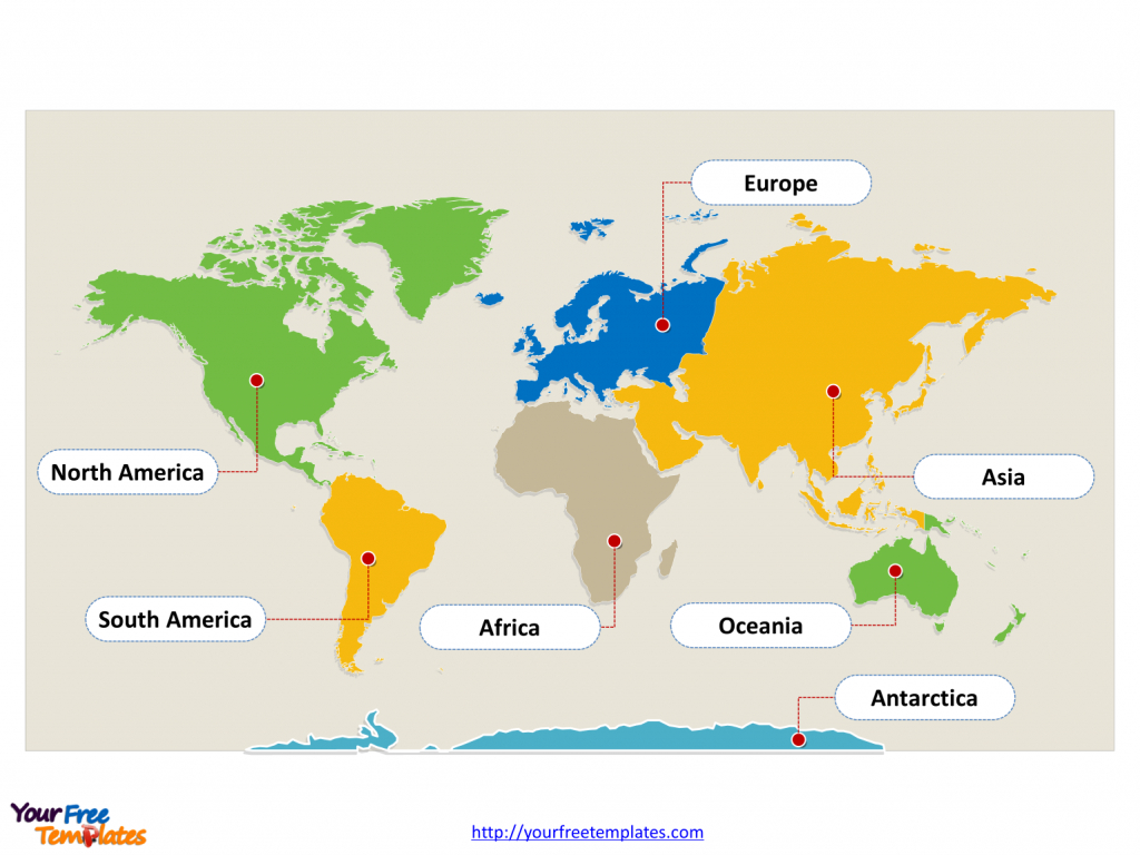 World Map With Continents - Free Powerpoint Templates intended for Seven Continents Map Printable