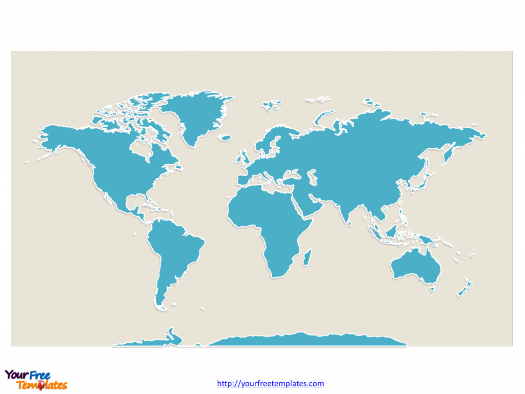 World Map With Continents - Free Powerpoint Templates within Seven Continents Map Printable
