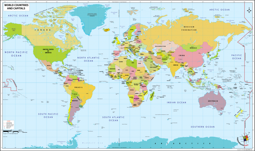 World Map With Countries And Capitals in World Map With Capital Cities Printable