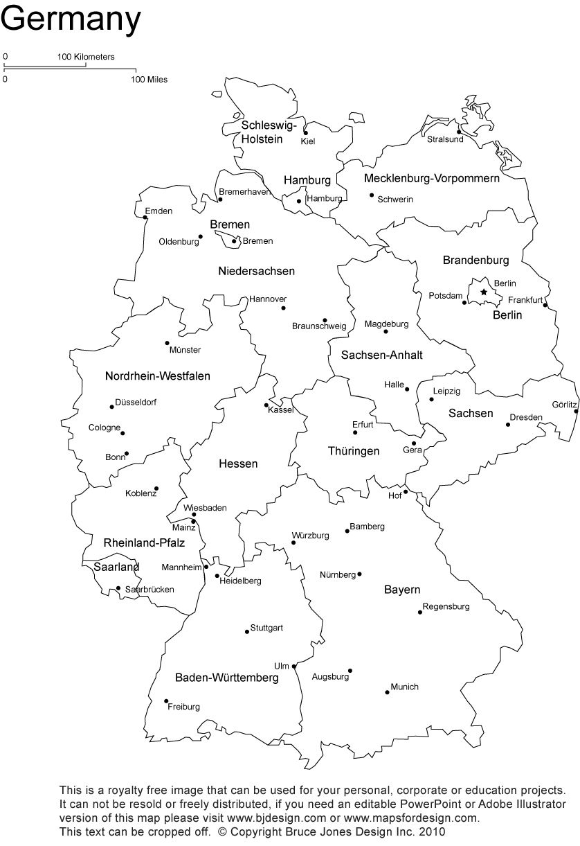 Germany Printable, Blank Map, Bonn, Berlin, Europe, Royalty